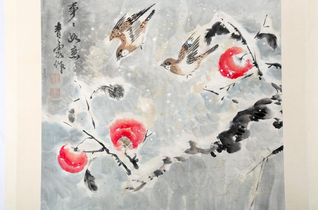 SIGNED WU QINGLU.A INK AND COLOR ON PAPER HANGING - 2