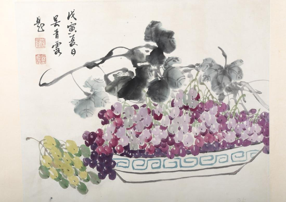 SIGNED WU QINGLU.A INK AND COLOR ON PAPER HANGING - 3