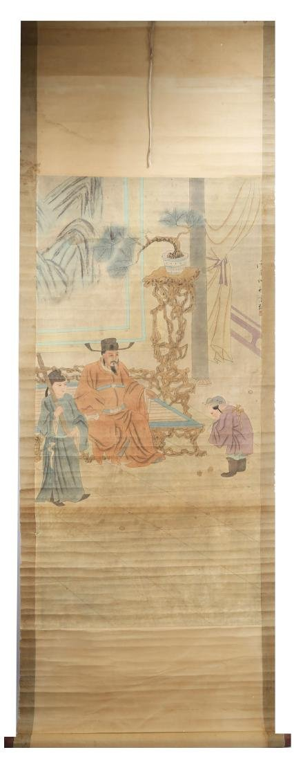SIGNED GAO XIANG (1688-1753).A INK AND COLOR ON PAPER