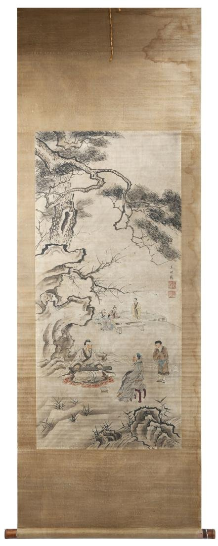 SIGNED WU XIZAI (1799-1870).A INK AND COLOR ON PAPER