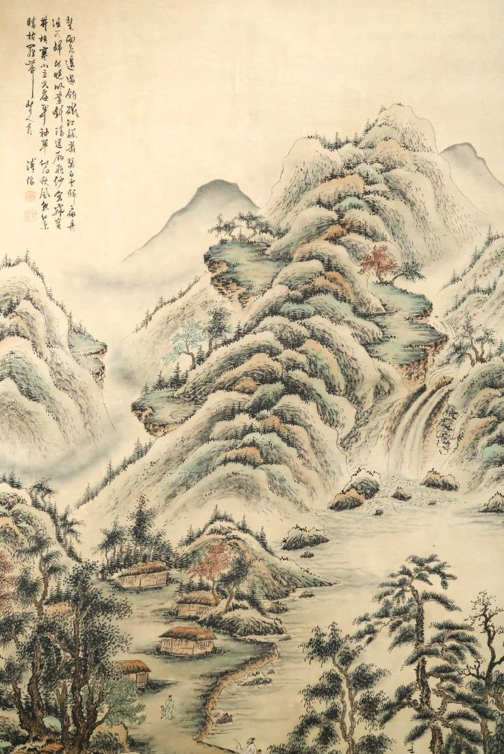 SIGNED PU RU (1896-1963).A INK AND COLOR ON SILK