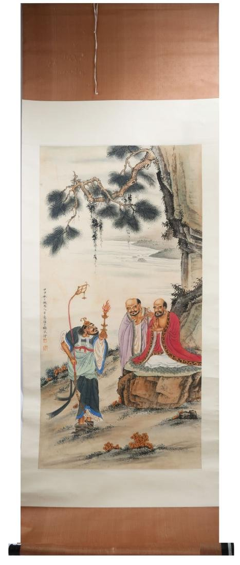 SIGNED CHENG SHAOMEI (1909-1954). A INK AND COLOR ON