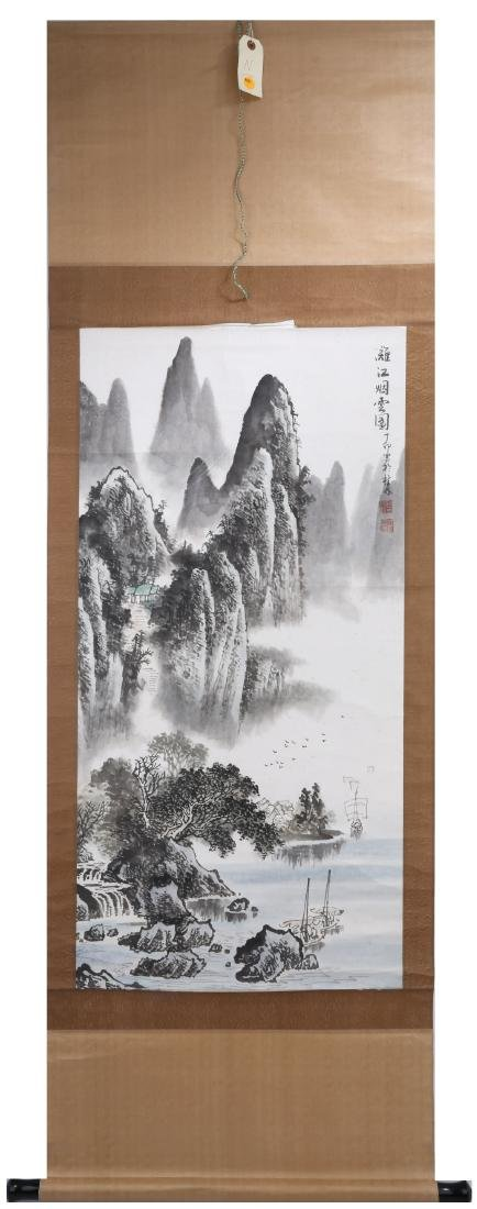 A INK AND COLOR ON PAPER HANGING SCROLL PAINTING. H209.