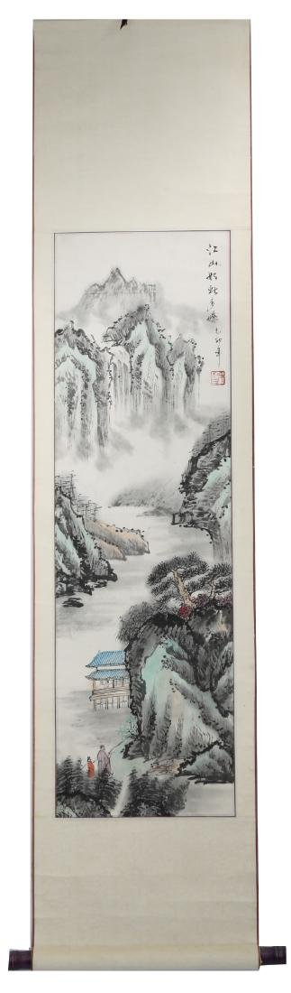 A INK AND COLOR ON PAPER HANGING SCROLL PAINTING. H213.