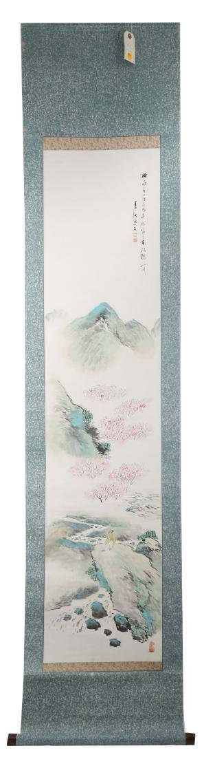 A INK AND COLOR ON PAPER HANGING SCROLL PAINTING. H214.