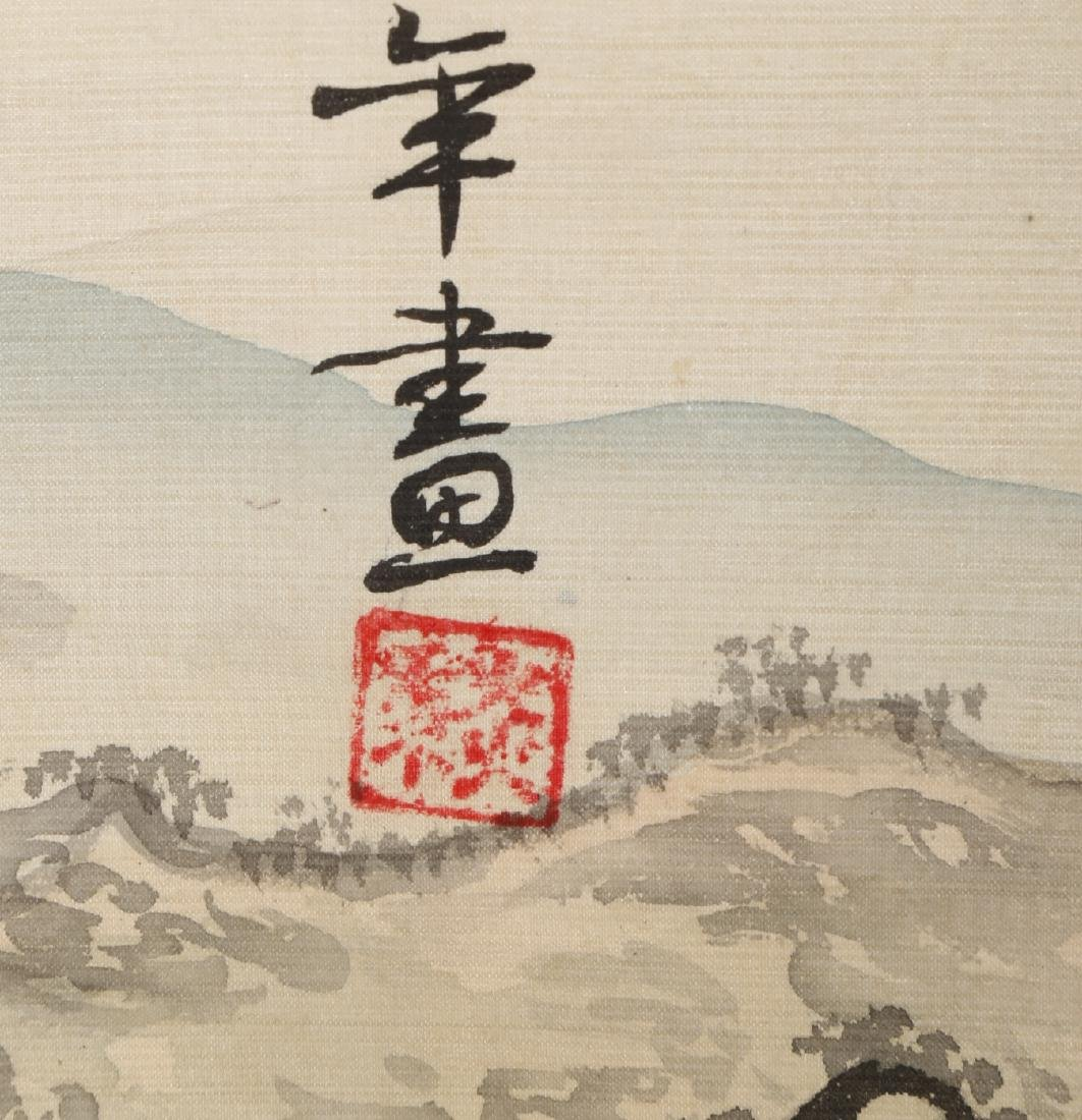 A INK AND COLOR ON PAPER HANGING SCROLL PAINTING. H217. - 10
