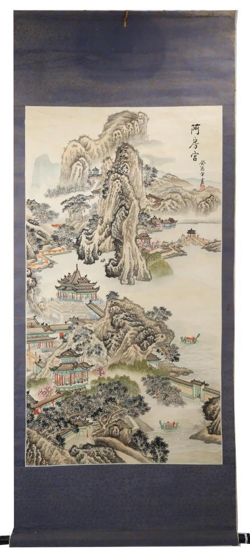 A INK AND COLOR ON PAPER HANGING SCROLL PAINTING. H217.