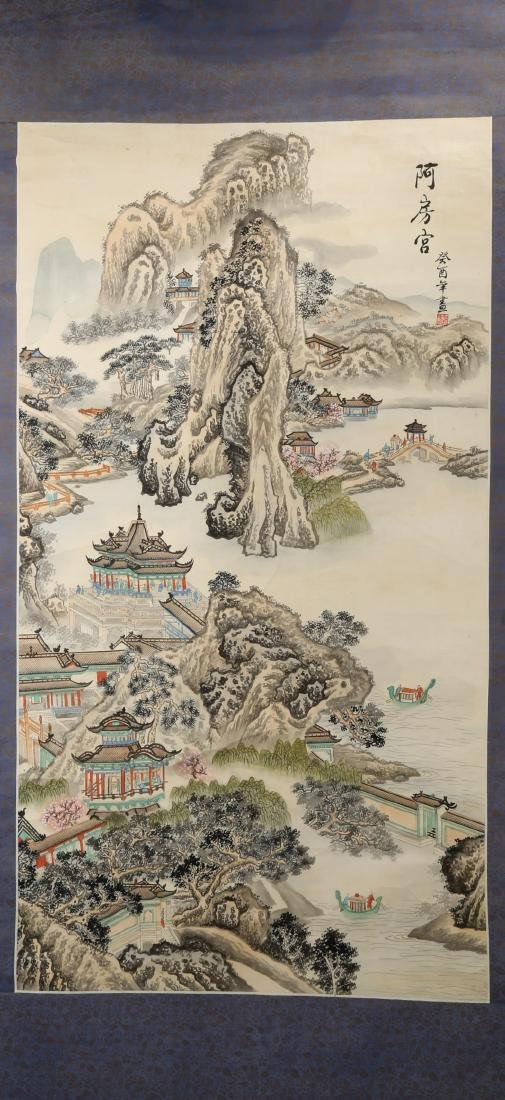 A INK AND COLOR ON PAPER HANGING SCROLL PAINTING. H217. - 2