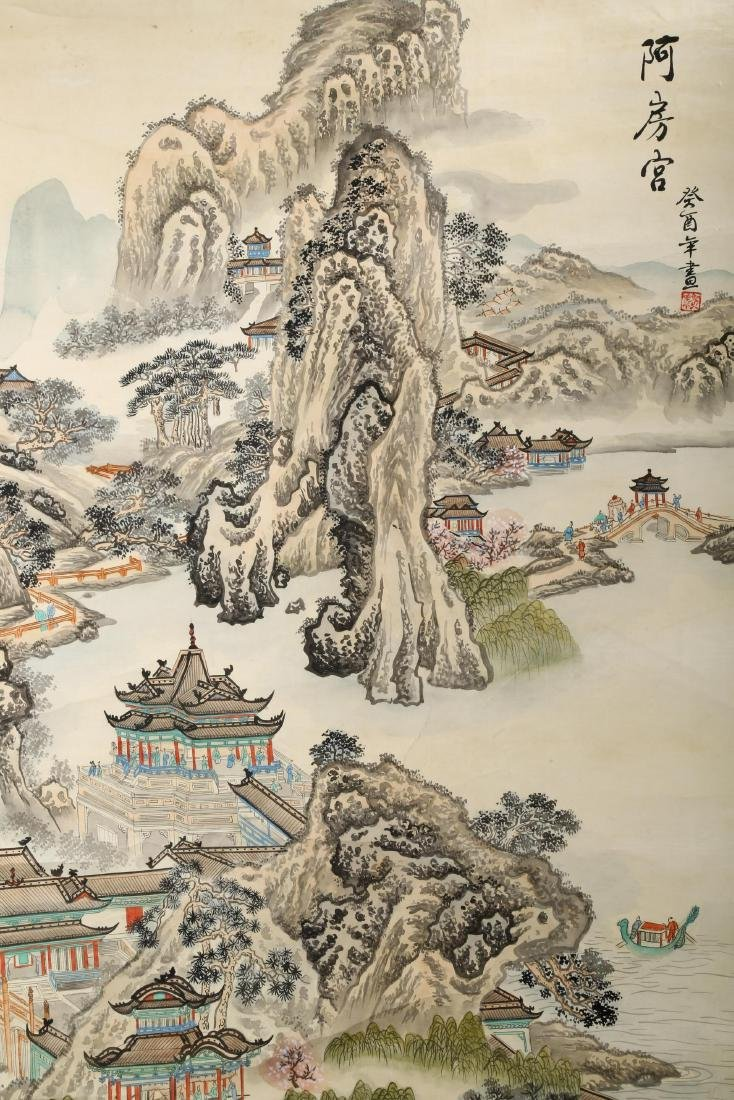 A INK AND COLOR ON PAPER HANGING SCROLL PAINTING. H217. - 4