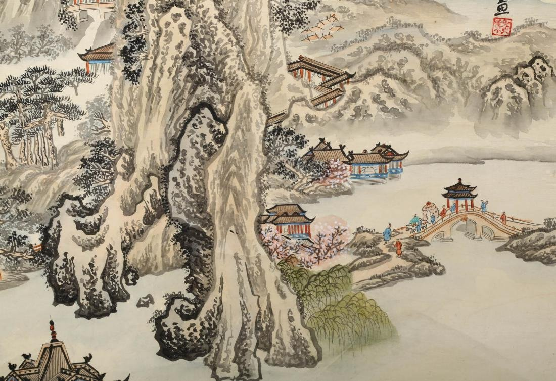 A INK AND COLOR ON PAPER HANGING SCROLL PAINTING. H217. - 5