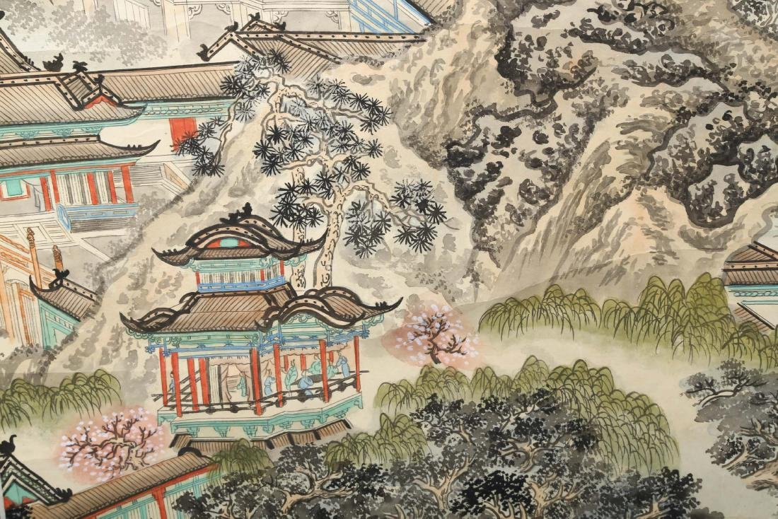 A INK AND COLOR ON PAPER HANGING SCROLL PAINTING. H217. - 7