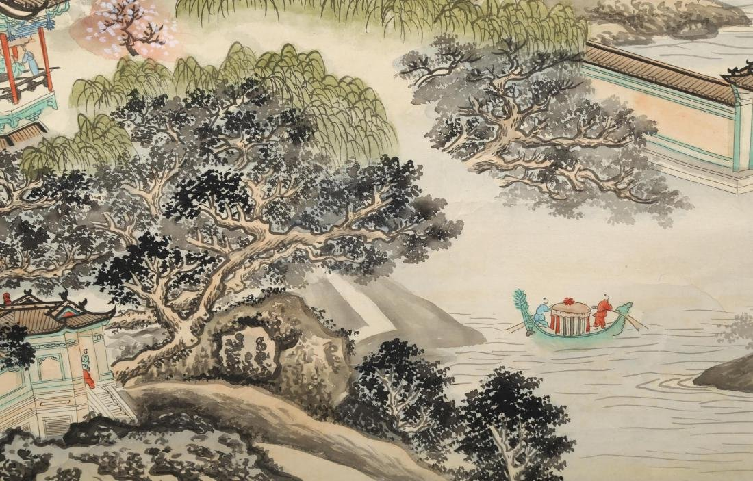 A INK AND COLOR ON PAPER HANGING SCROLL PAINTING. H217. - 8