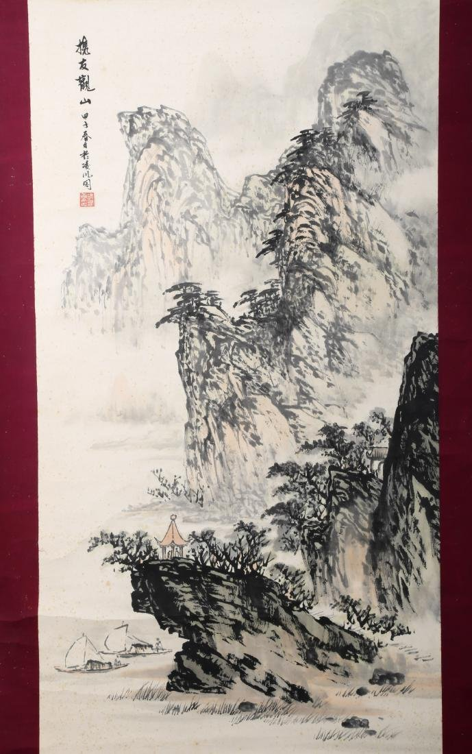 A INK AND COLOR ON PAPER HANGING SCROLL PAINTING. H218. - 2