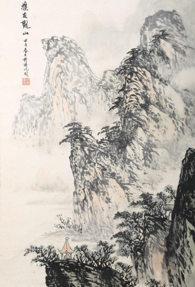 A INK AND COLOR ON PAPER HANGING SCROLL PAINTING. H218. - 3