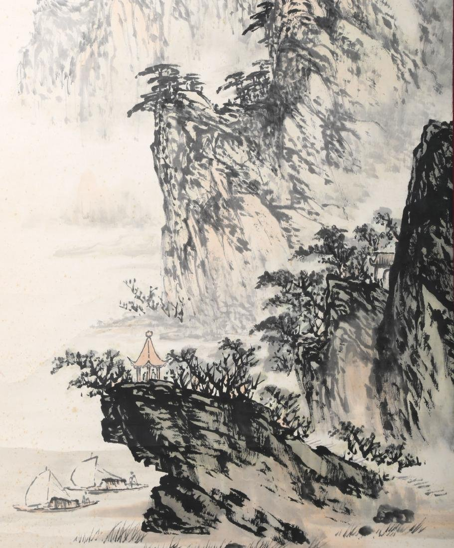A INK AND COLOR ON PAPER HANGING SCROLL PAINTING. H218. - 4