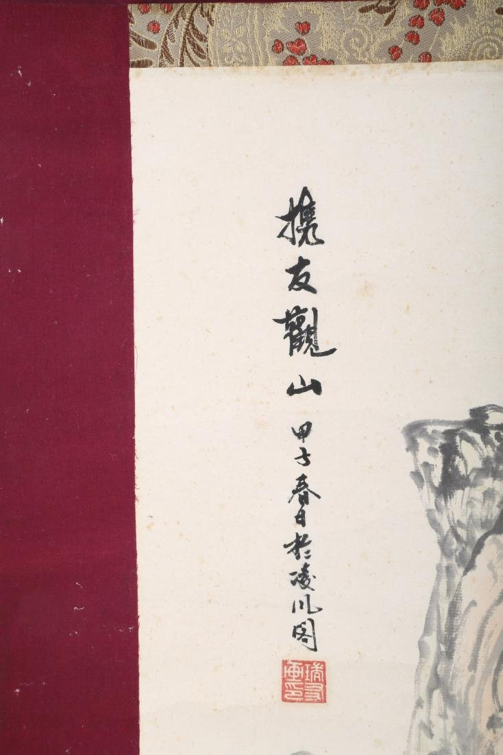 A INK AND COLOR ON PAPER HANGING SCROLL PAINTING. H218. - 5