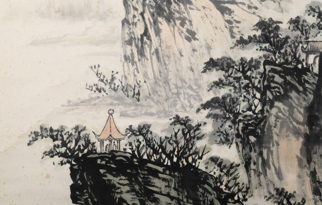 A INK AND COLOR ON PAPER HANGING SCROLL PAINTING. H218. - 7