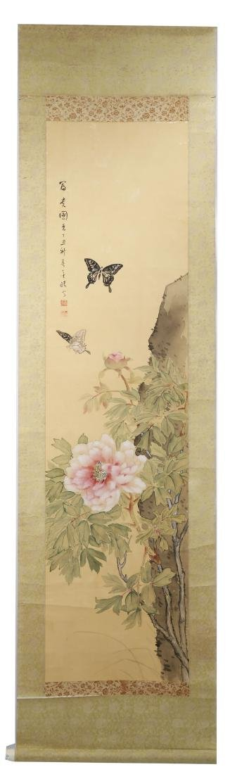 A INK AND COLOR ON PAPER HANGING SCROLL PAINTING. H219