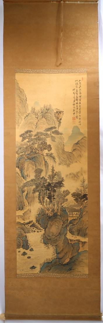 SIGNED TIAN ?. A INK AND COLOR ON SILK HANGING SCROLL