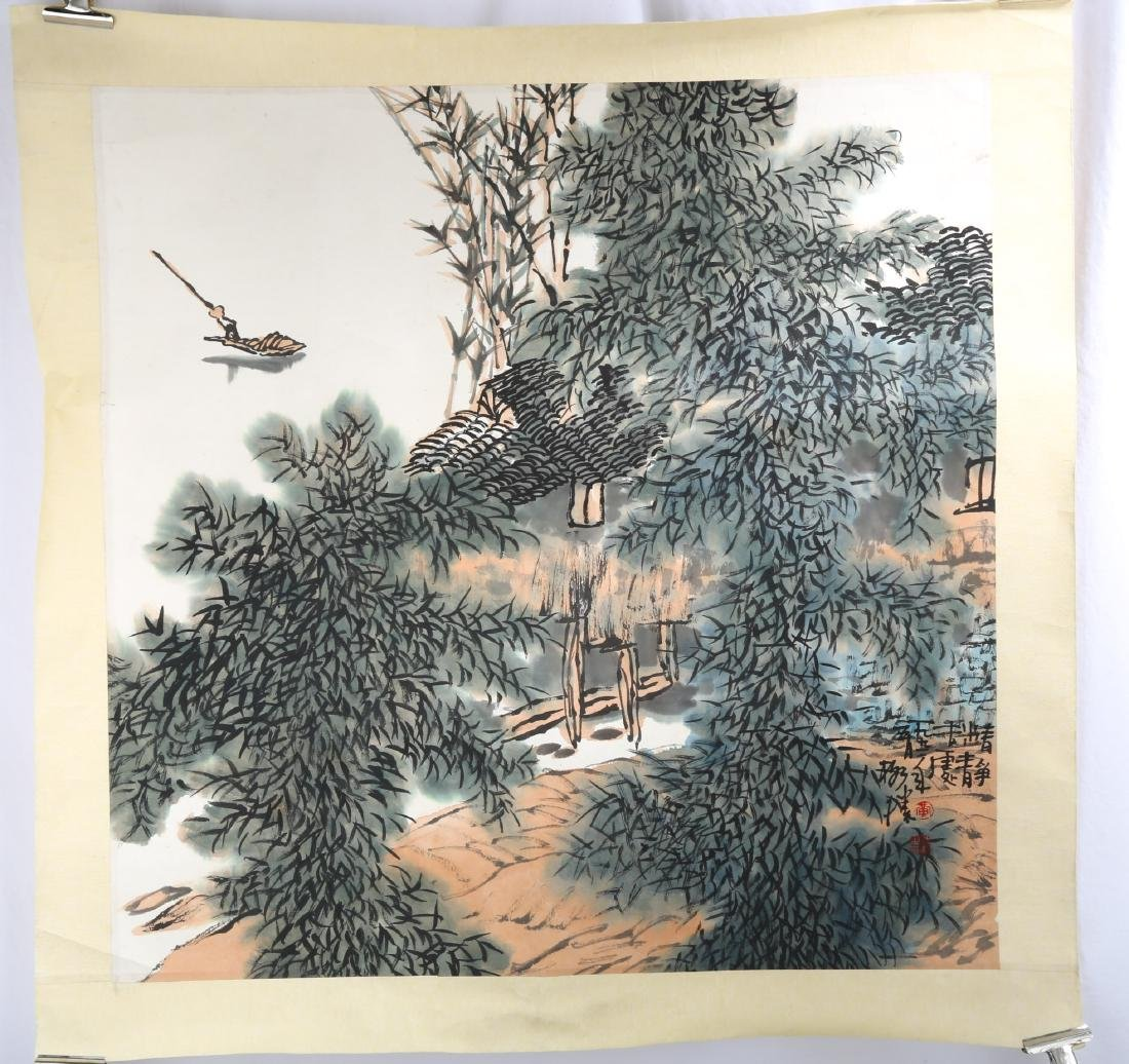 SIGNED HUANG GESHENG(1950-).A INK AND COLOR ON PAPER