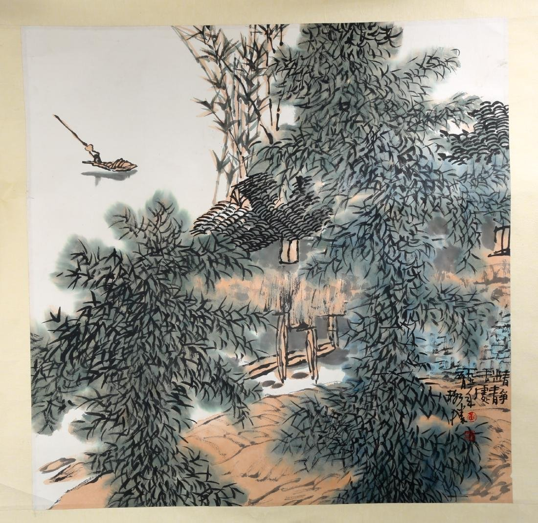 SIGNED HUANG GESHENG(1950-).A INK AND COLOR ON PAPER - 2