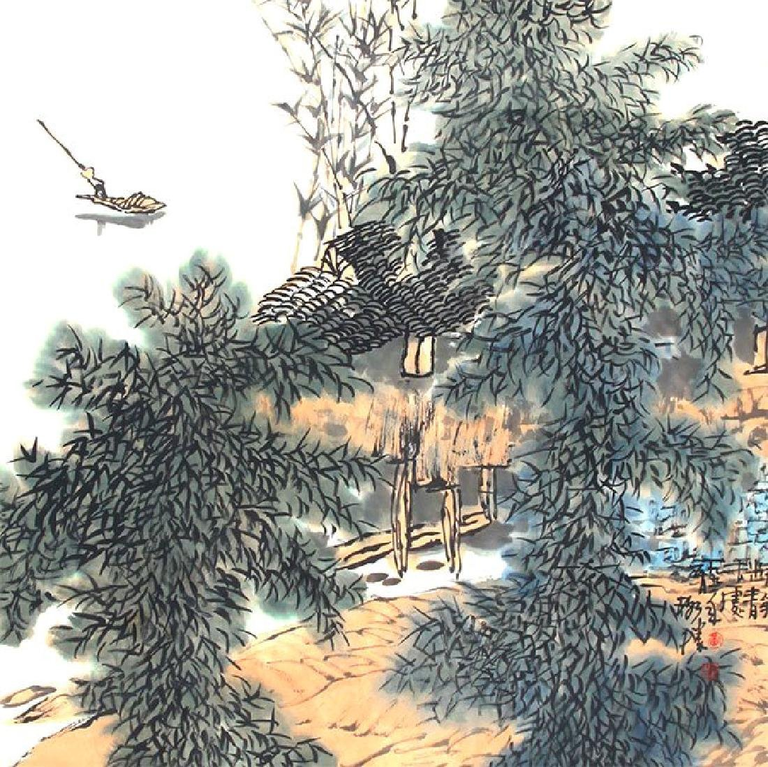 SIGNED HUANG GESHENG(1950-).A INK AND COLOR ON PAPER - 5