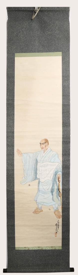 A JAPANESE INK AND COLOR ON PAPER HANGING SCROLL