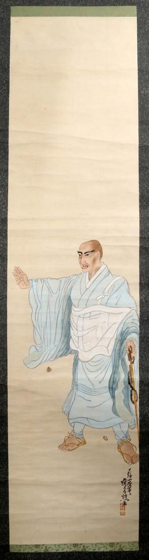 A JAPANESE INK AND COLOR ON PAPER HANGING SCROLL - 2