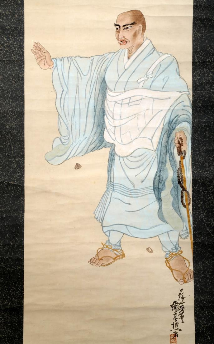 A JAPANESE INK AND COLOR ON PAPER HANGING SCROLL - 3