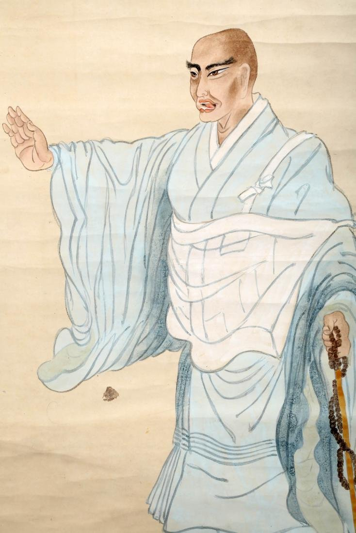 A JAPANESE INK AND COLOR ON PAPER HANGING SCROLL - 4