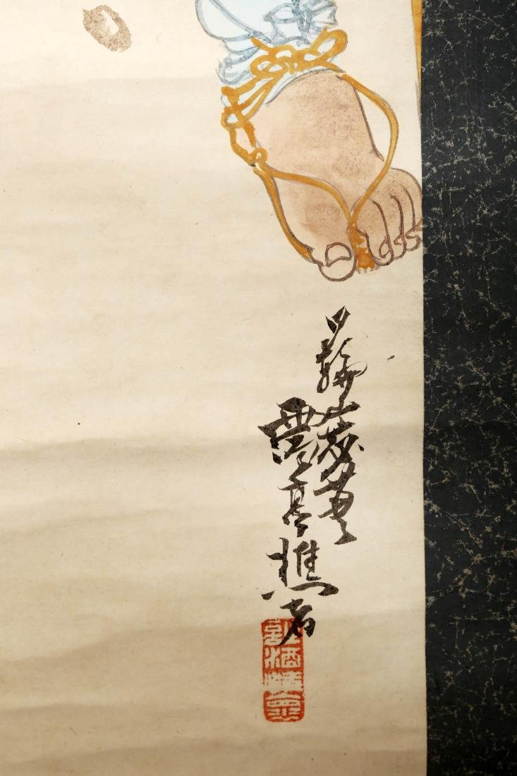 A JAPANESE INK AND COLOR ON PAPER HANGING SCROLL - 6