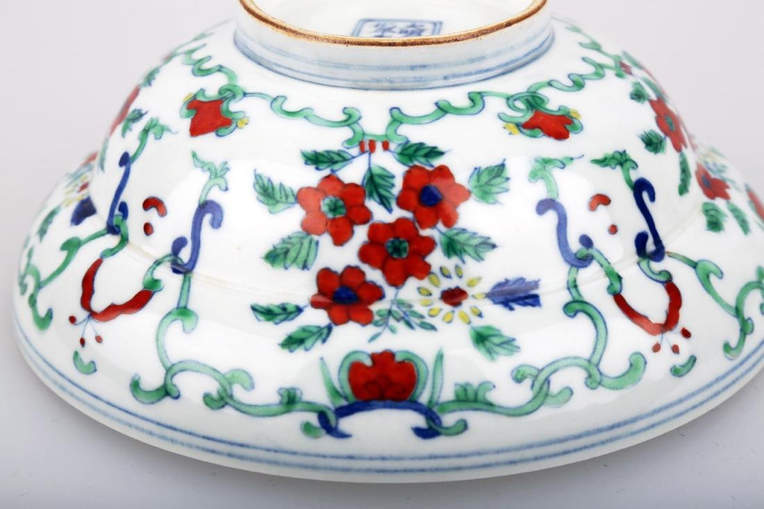 A DOUCAI BOWING BOWL WITH FLOWERS DESIGN.DA MING CHENG - 7