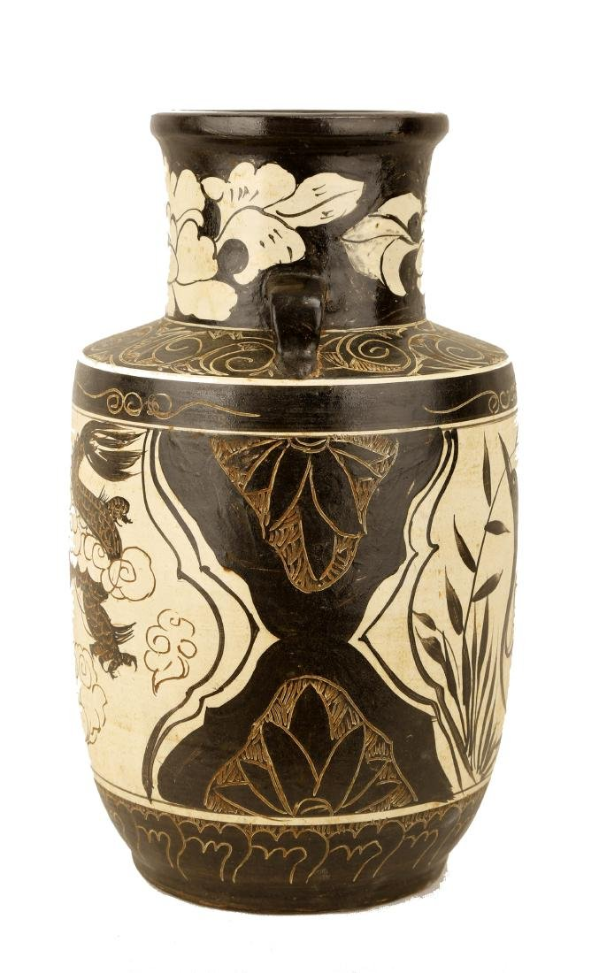 A GARNET-GLAZE CARVED WITH LOTUS FLOWERS, DRAGON AND - 3