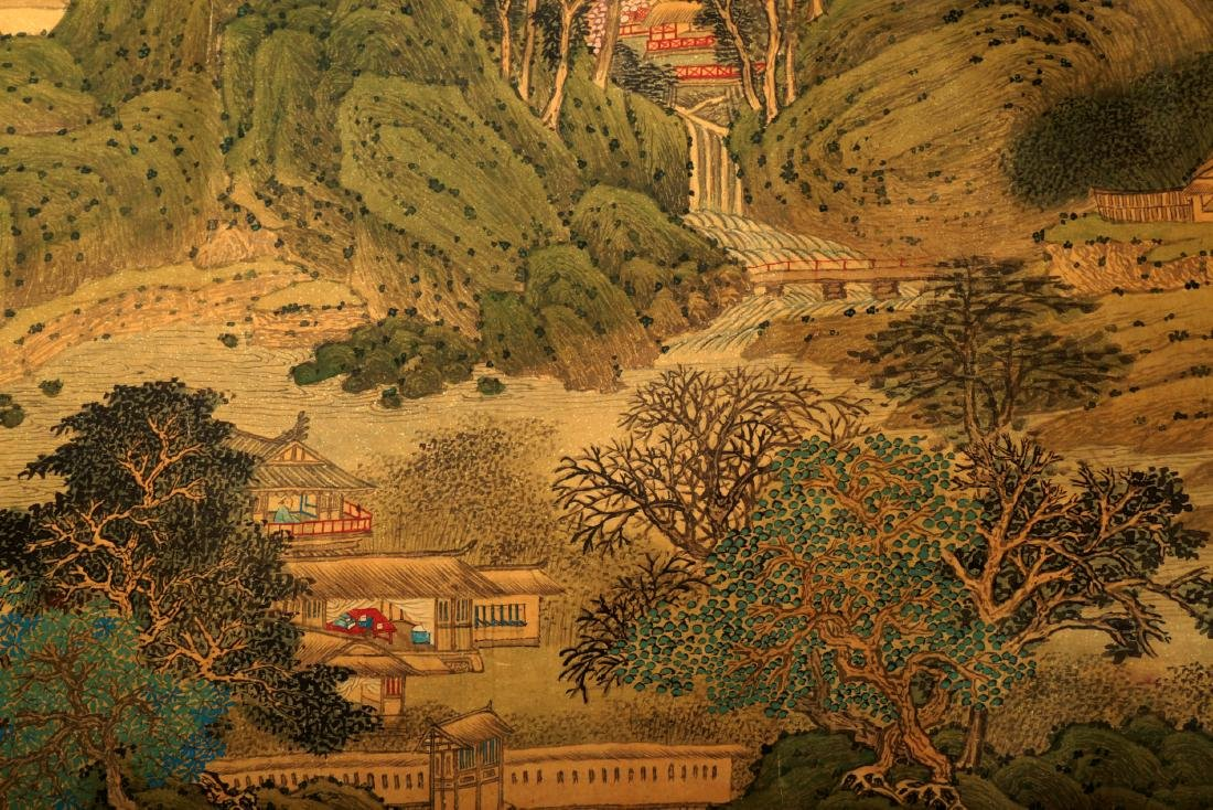 HANDSCROLL SIGNED YUAN YAOJIN.A INK AND COLORS ON GILT - 10