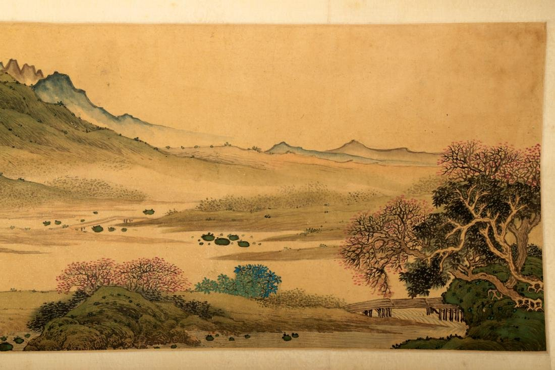 HANDSCROLL SIGNED YUAN YAOJIN.A INK AND COLORS ON GILT - 3