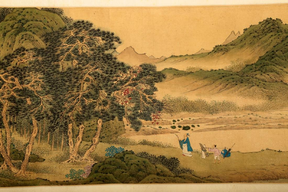 HANDSCROLL SIGNED YUAN YAOJIN.A INK AND COLORS ON GILT - 4