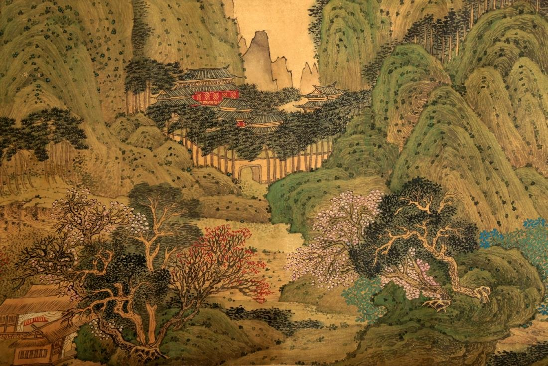 HANDSCROLL SIGNED YUAN YAOJIN.A INK AND COLORS ON GILT - 5