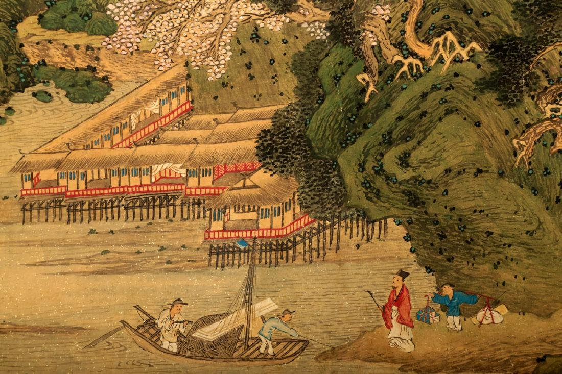 HANDSCROLL SIGNED YUAN YAOJIN.A INK AND COLORS ON GILT - 7