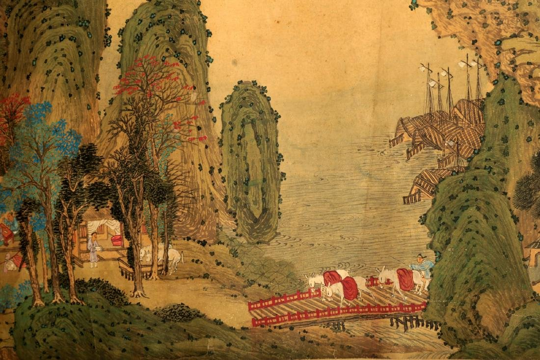HANDSCROLL SIGNED YUAN YAOJIN.A INK AND COLORS ON GILT - 8