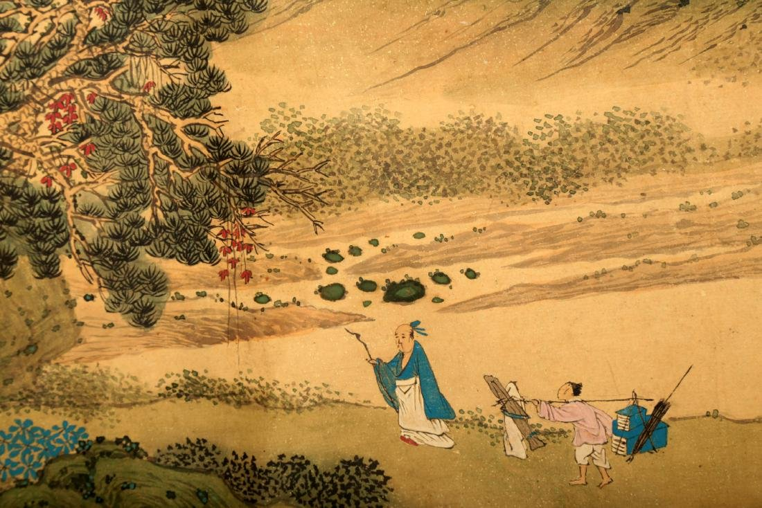 HANDSCROLL SIGNED YUAN YAOJIN.A INK AND COLORS ON GILT - 9
