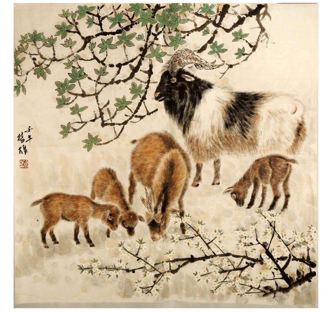 SIGNED FANG CHUXIONG (1950- ). A INK AND COLOR ON PAPER