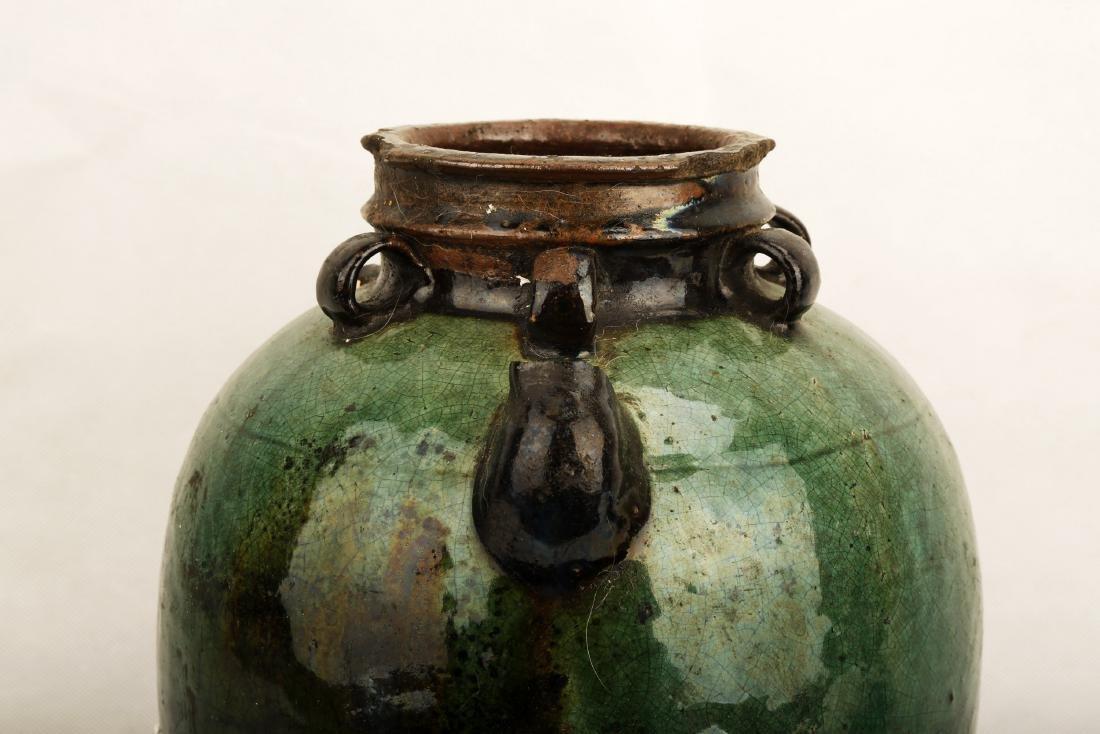 A GREEN GLAZE PORCELAIN JAR WITH SIX RINGS.C341. - 4