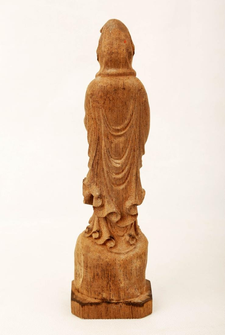 A WOOD GUANYIN FIGURE.M032. - 3
