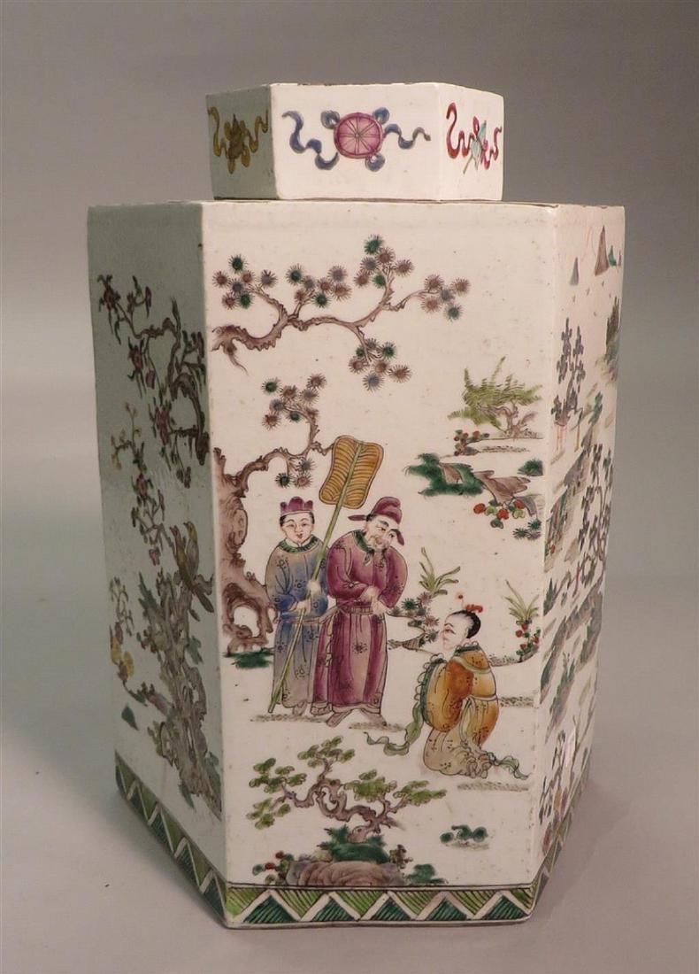 A CHINSE HEXAGONAL FAMILLE ROSE PORCELAIN JAR.19TH