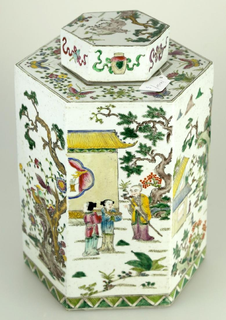 A CHINSE HEXAGONAL FAMILLE ROSE PORCELAIN JAR.19TH - 2