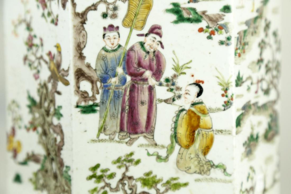 A CHINSE HEXAGONAL FAMILLE ROSE PORCELAIN JAR.19TH - 8