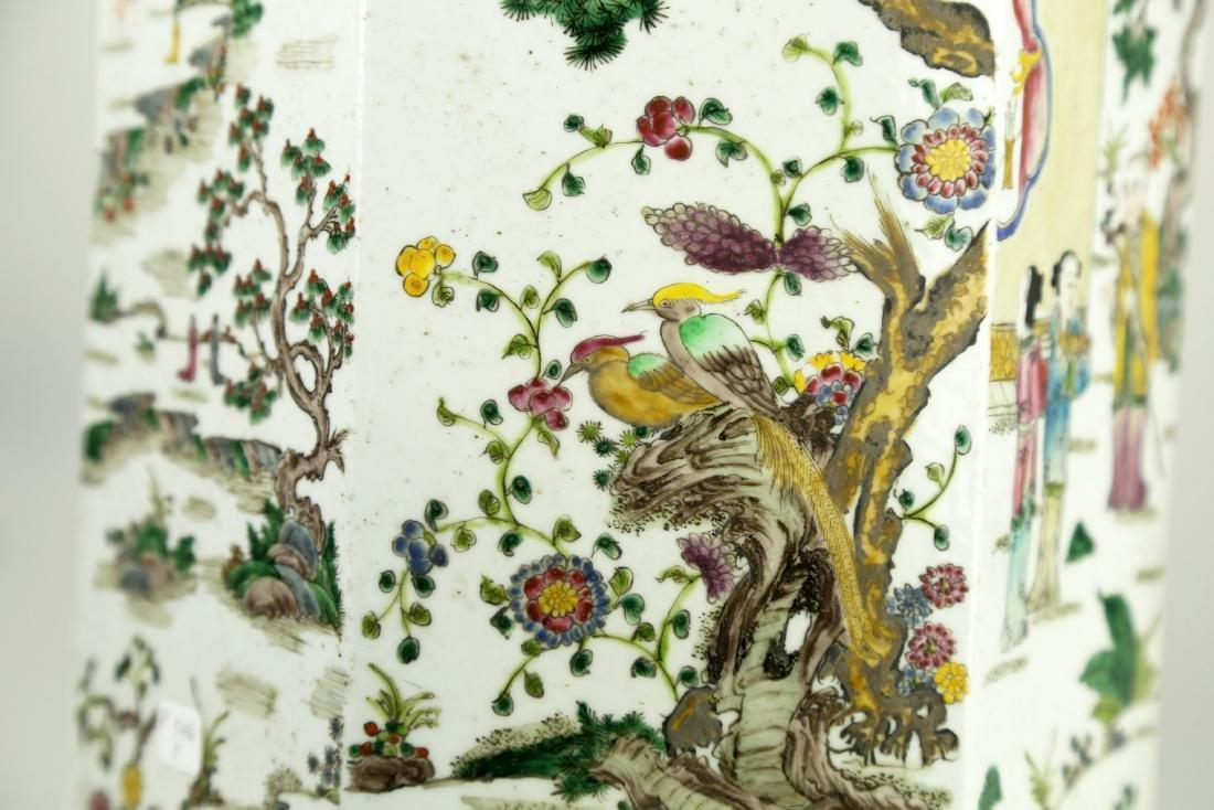 A CHINSE HEXAGONAL FAMILLE ROSE PORCELAIN JAR.19TH - 9