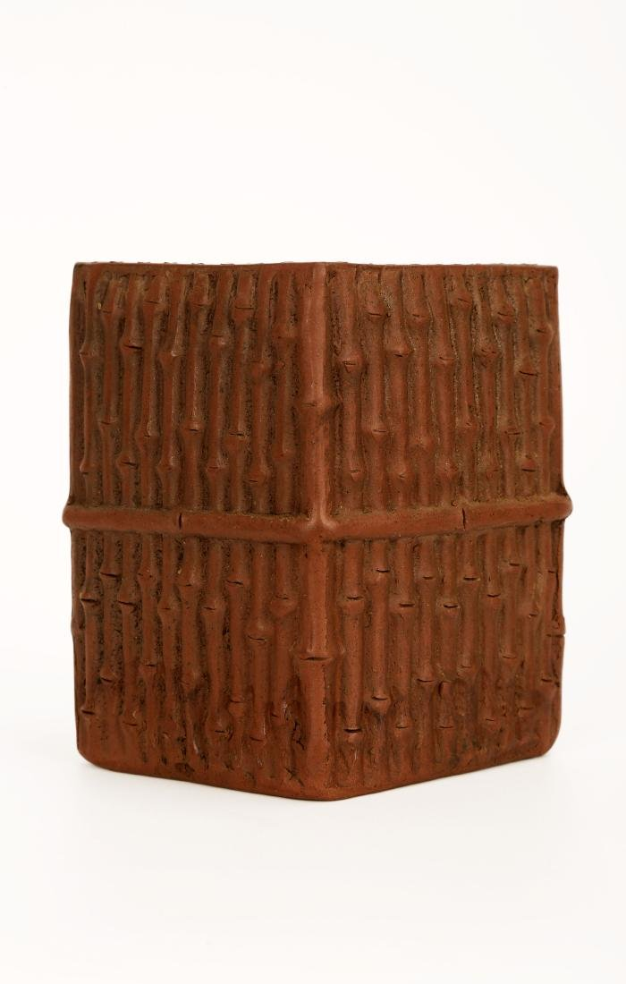 A CHINESE YIXING CLAY BRUSH POT DESIGNED WITH BAMBOO - 2
