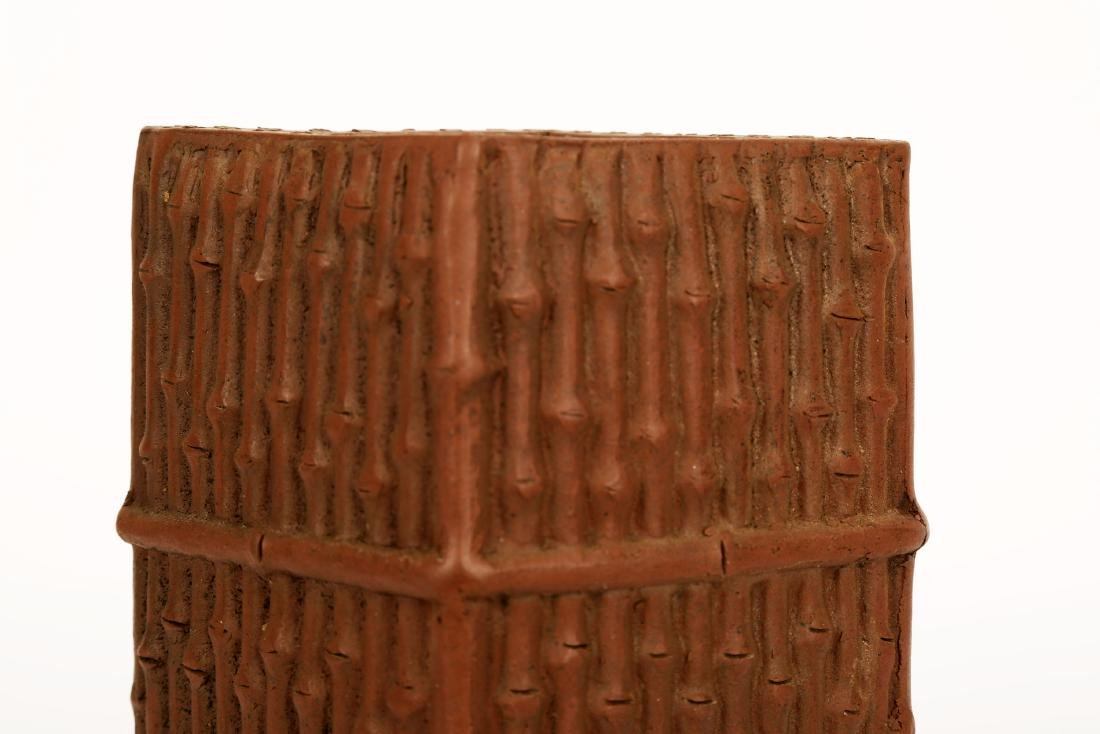 A CHINESE YIXING CLAY BRUSH POT DESIGNED WITH BAMBOO - 5