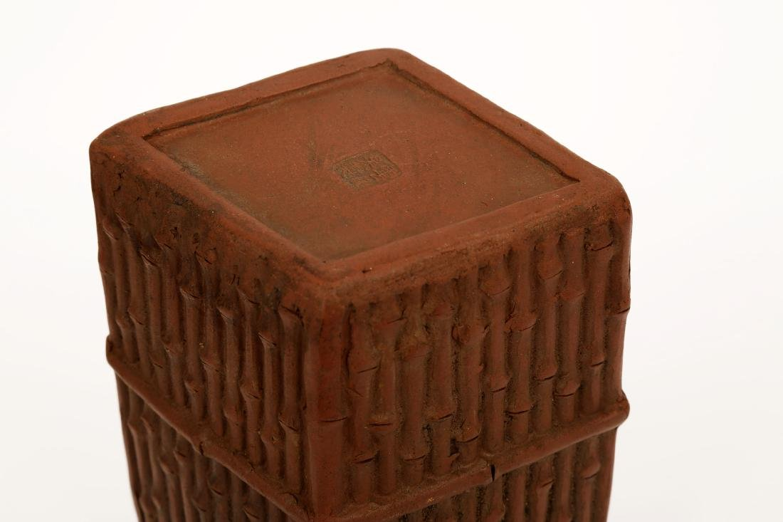 A CHINESE YIXING CLAY BRUSH POT DESIGNED WITH BAMBOO - 6